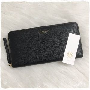 NWT! Tory Burch Perry Zip Around Black Wallet